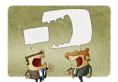 Angry man shouting at another man. Brutal Dispute, speech bubble is eaten another speech bubble. illustration. stock vector