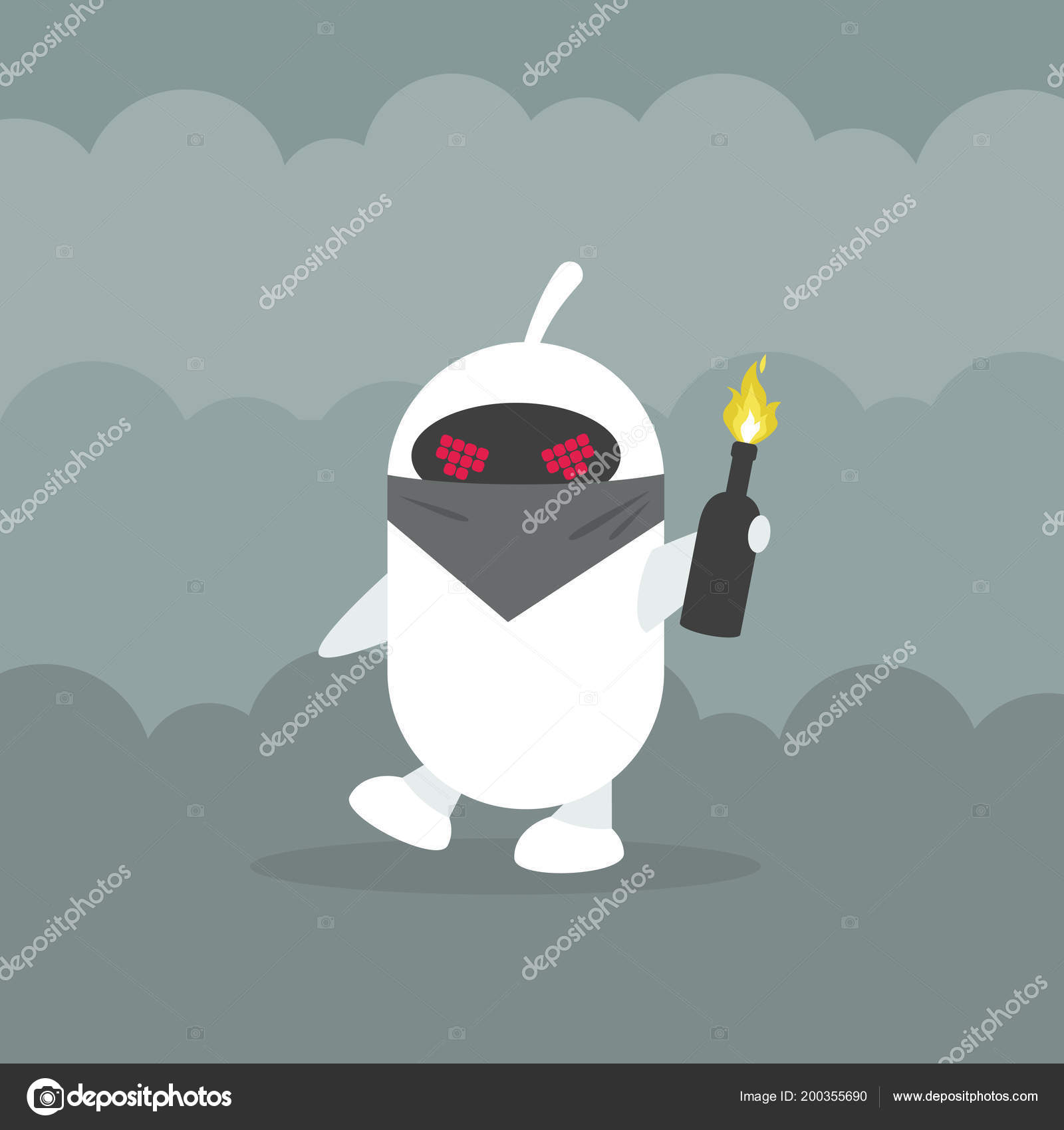 Angry Robot Wearing Face Mask Holding Bottle Molotov