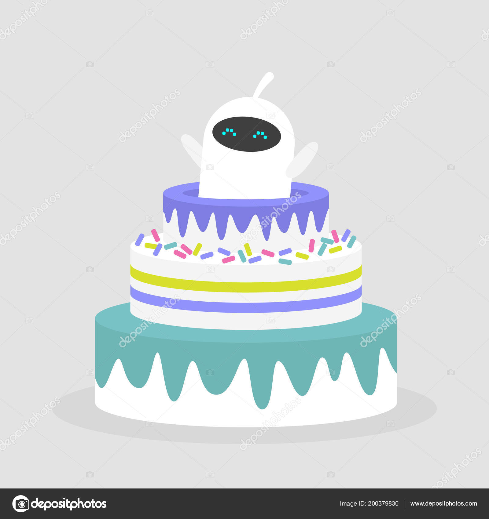 Excellent Celebration Cute White Robot Jumping Out Of The Cake Flat Edi Personalised Birthday Cards Epsylily Jamesorg