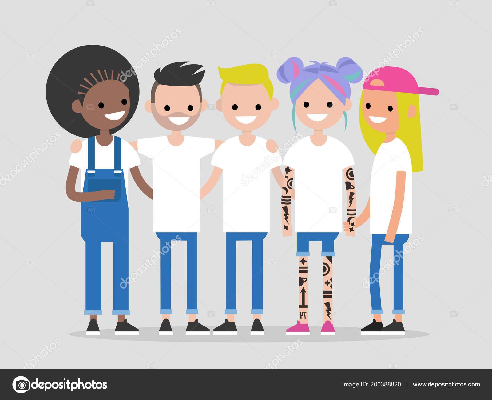 Gruppe Junger Moderner Menschen Umarmen Und Hand Hand Freunde