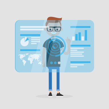 Millennial character touching a blue transparent futuristic screen. Conceptual future technologies / flat editable vector illustration, clip art
