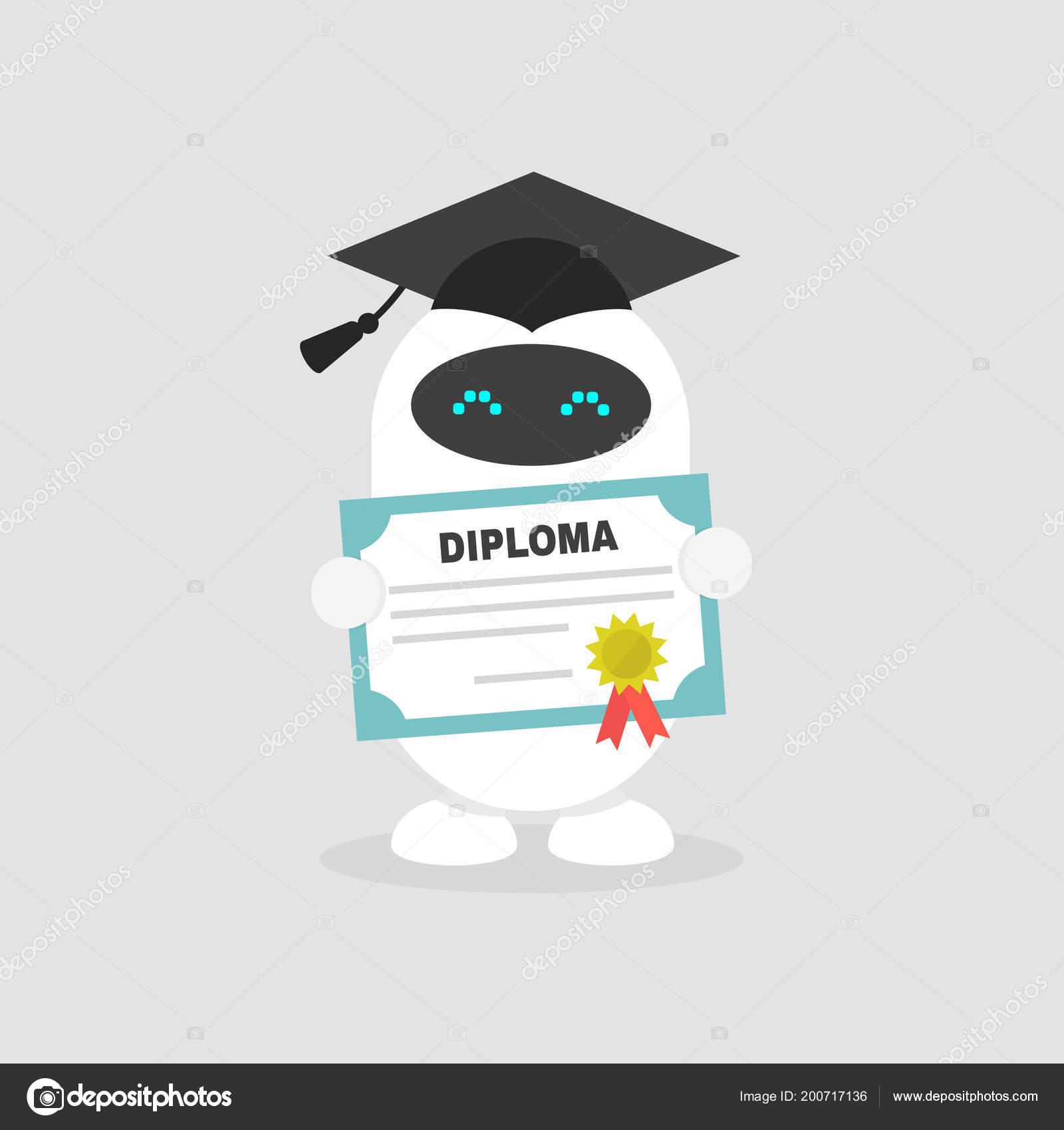 4e482f1d9 Graduado lindo robot usando una tapa sostiene un diploma certificado y plano  editable vector Ilustración