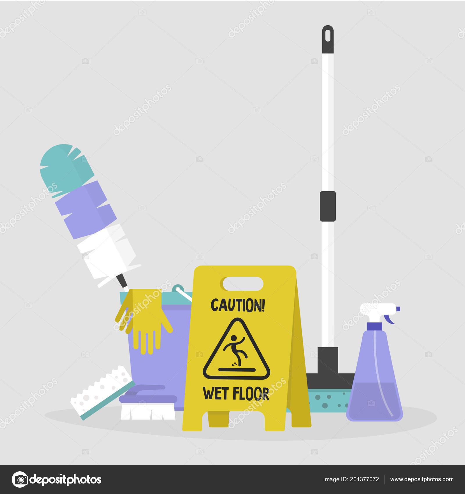 Hausarbeit Satz Von Reinigung Von Werkzeugen Vorsicht Zeichen Mop