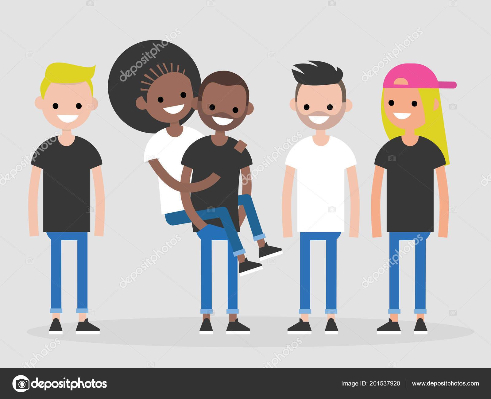 Internationale Gruppe Junger Freunde Vielfalt Millennials Voller