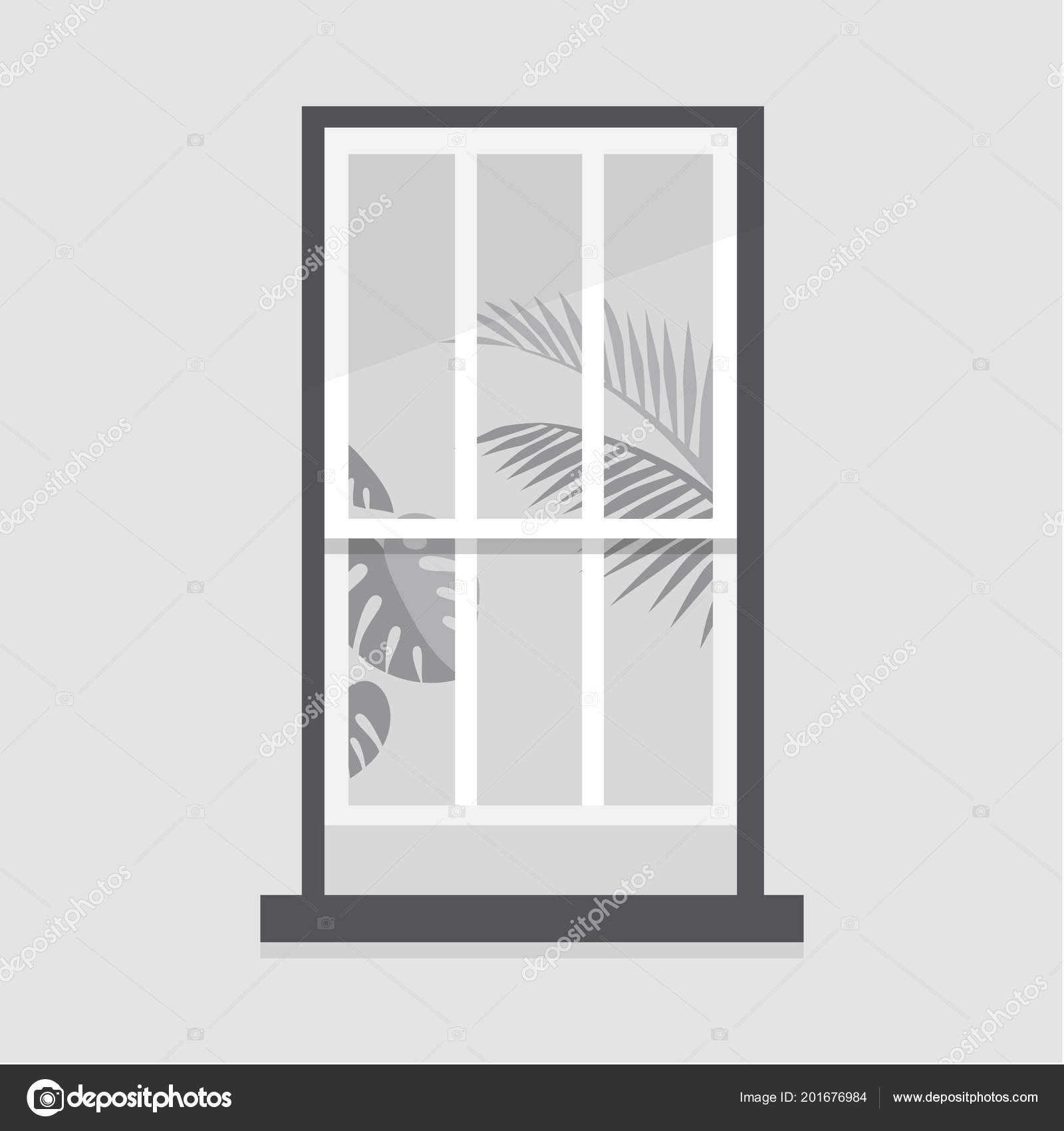 Window Frame Plant Leaves Home Decoration Copy Space People Flat ...