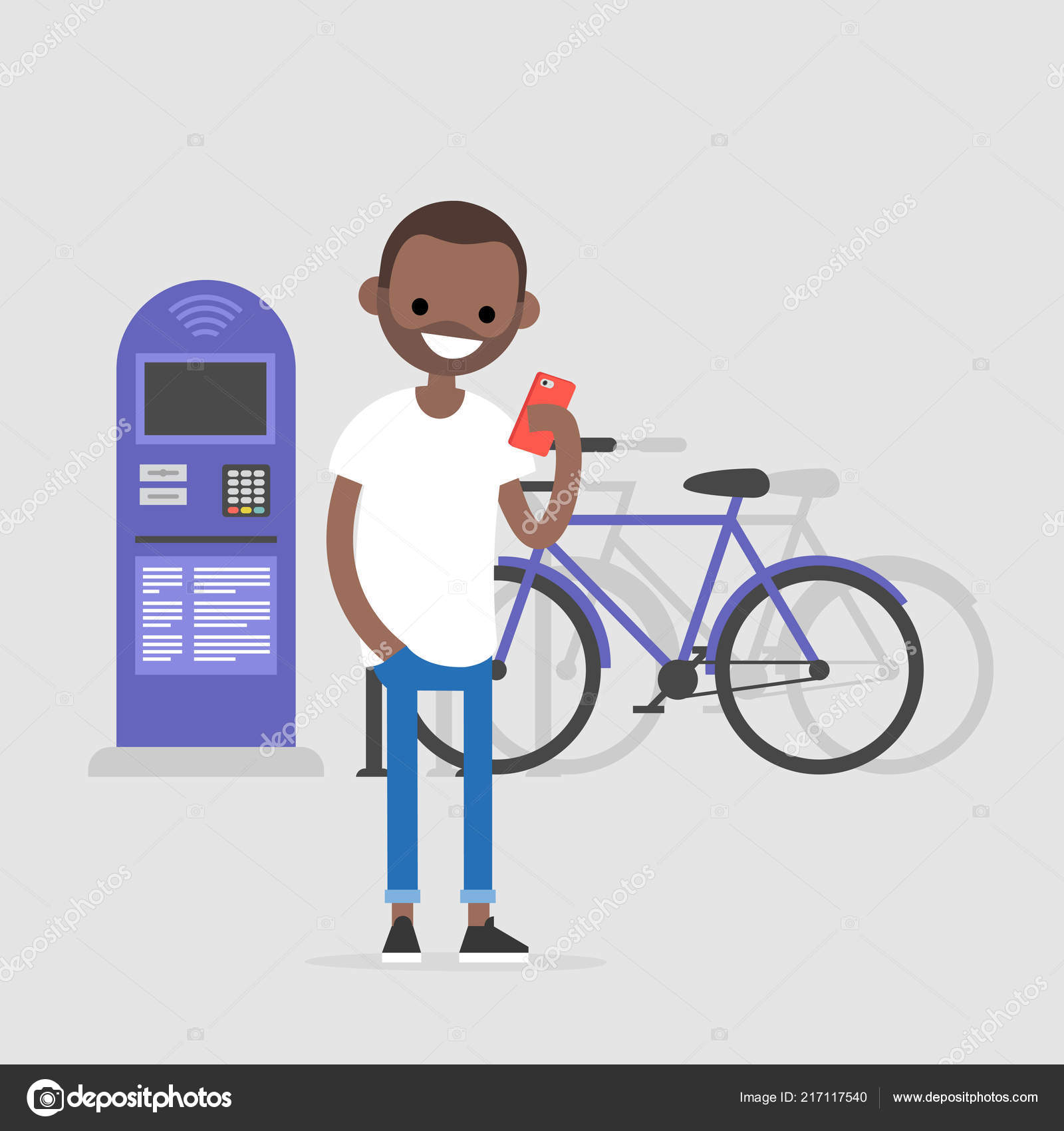 young character using a mobile bike rental application urban transport system flat editable vector illustration clip art active lifestyle vector by