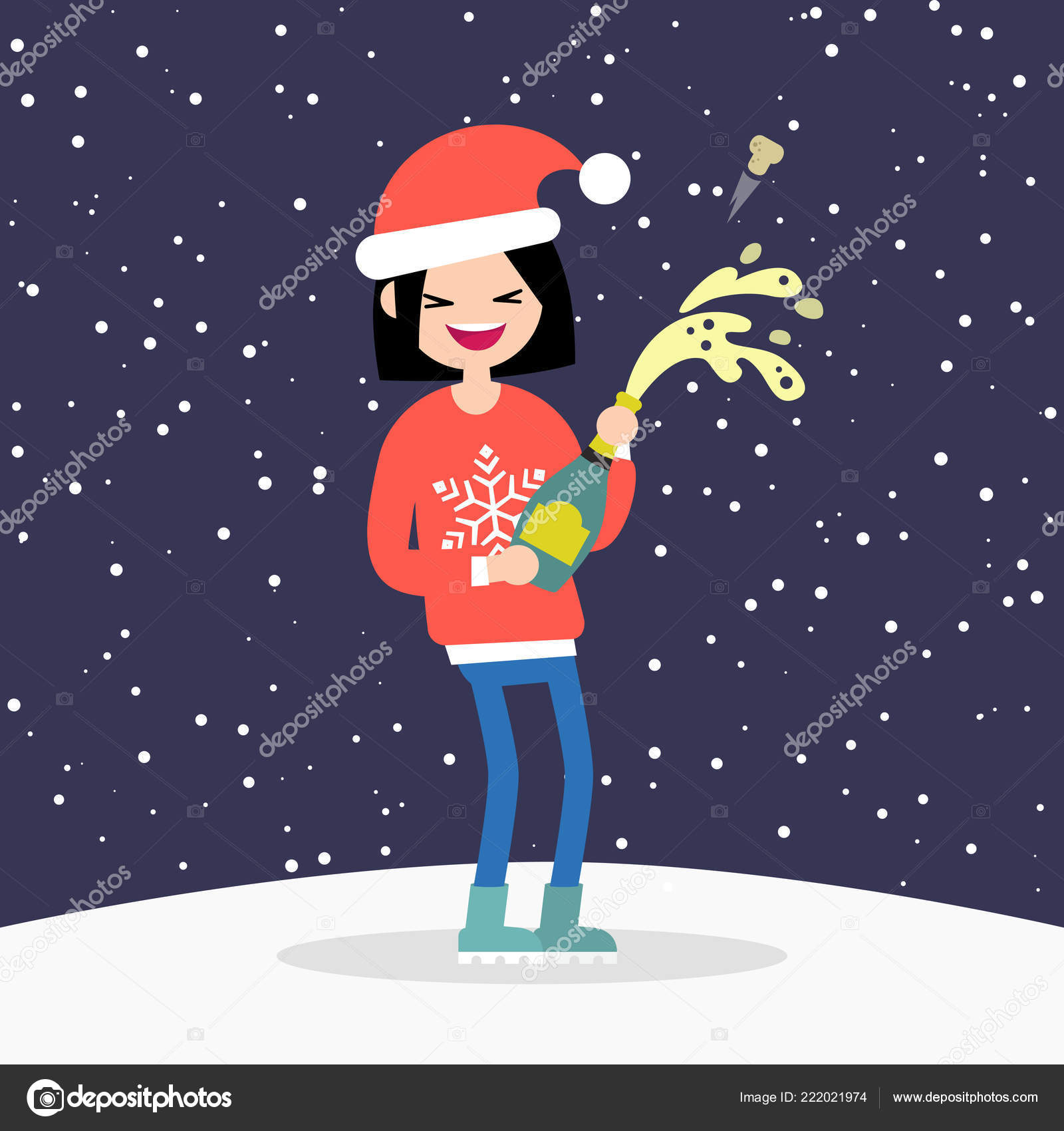 young character opening a bottle of sparkling wine or champagne celebrating the new year winter holidays flat editable vector illustration clip art
