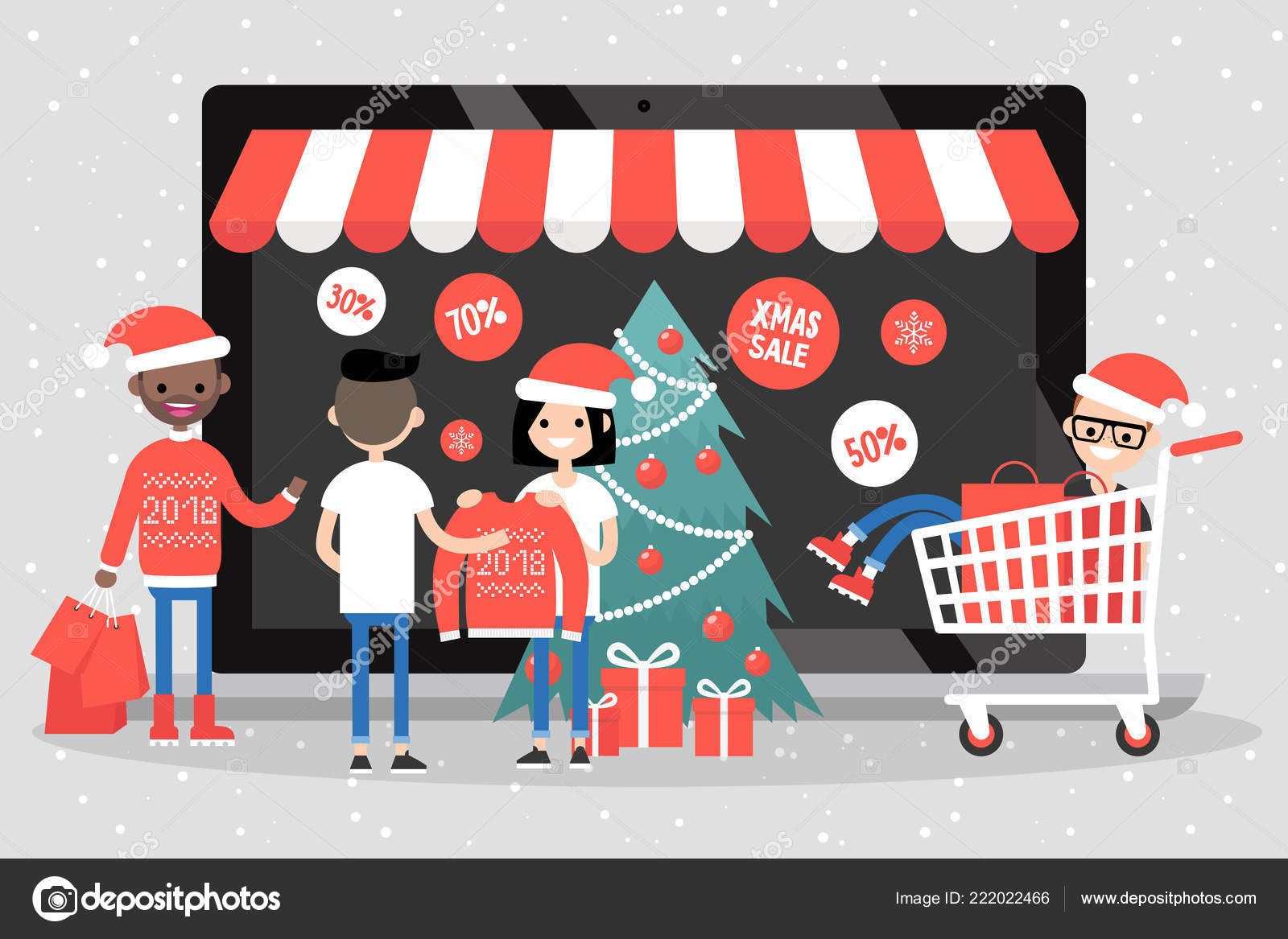 Online Christmas Sale Group Millennials Buying Gifts Online Shopping ...