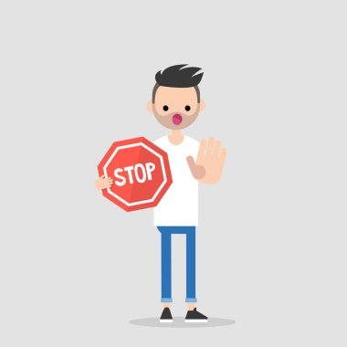 Warning. Forbidden. No access. Young character holding a red stop sign. Flat editable vector illustration, clip art.