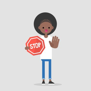 Warning. Forbidden. No access. Young female character holding a red stop sign. Flat editable vector illustration, clip art.