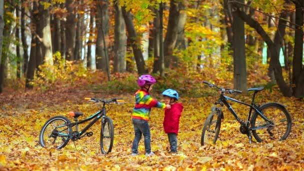 Bratříček a sestra dětí v podzimním parku. Starší sestra pomáhá malému dítěti nasadit si helmu na kolo. Aktivní sourozenci s koly.