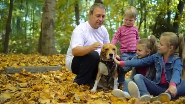 Šťastné rodinné procházky v podzimním parku se psem bíglem. Děti mazlíček pes.