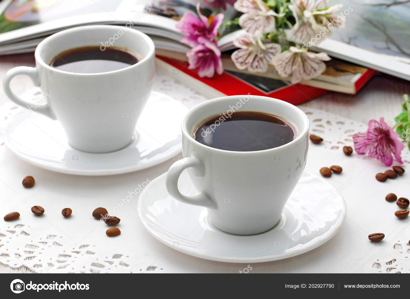 Bonjour Tasse Café Sur Table Pour Une Belle Journée