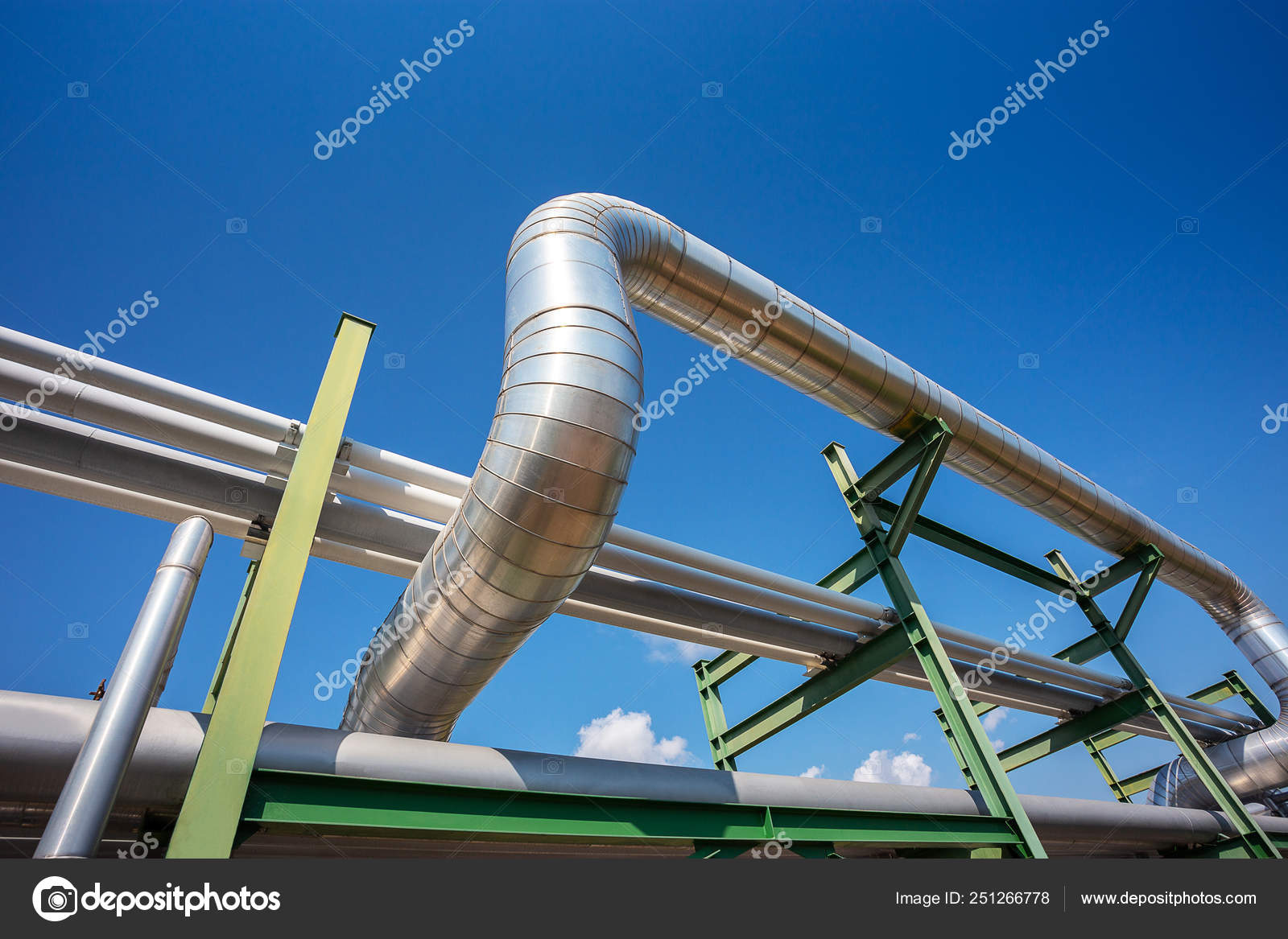 Insulation of steam pipe for steam transportation on lack in