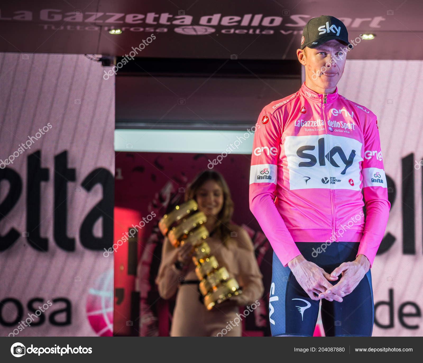 Roma Italy May 2018 Chris Froome Pink Jersey Celebrates Victory ... 8b3262021