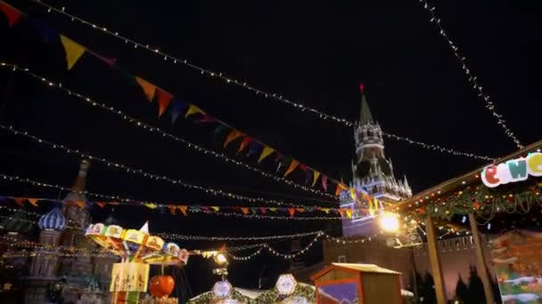 Traditional Russian fair on Red Square, winter, snowfall, holiday, pancake week