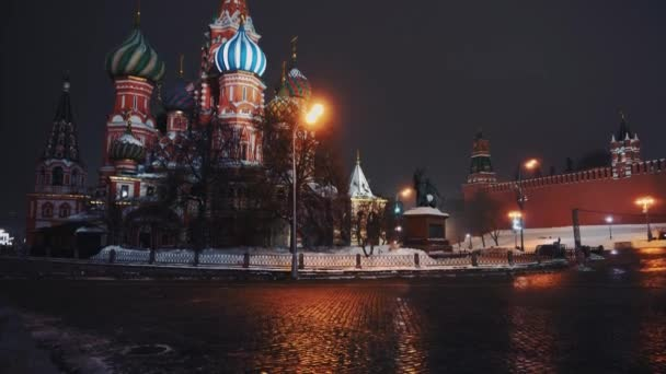 Amazing Saint Basils Cathedral in Red Square, Moscow, night, no people