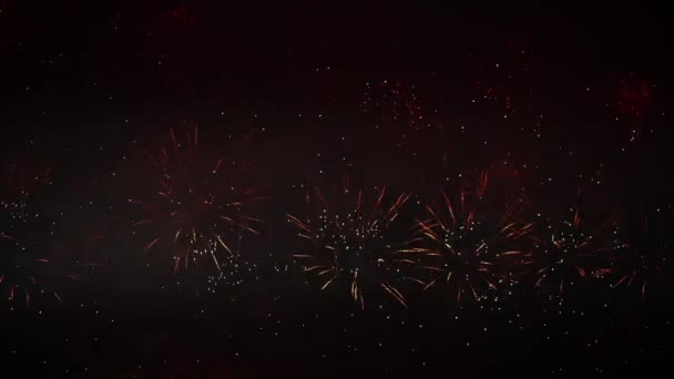 Magnificent, red, silver and gold color of dazzling fireworks, in the night sky