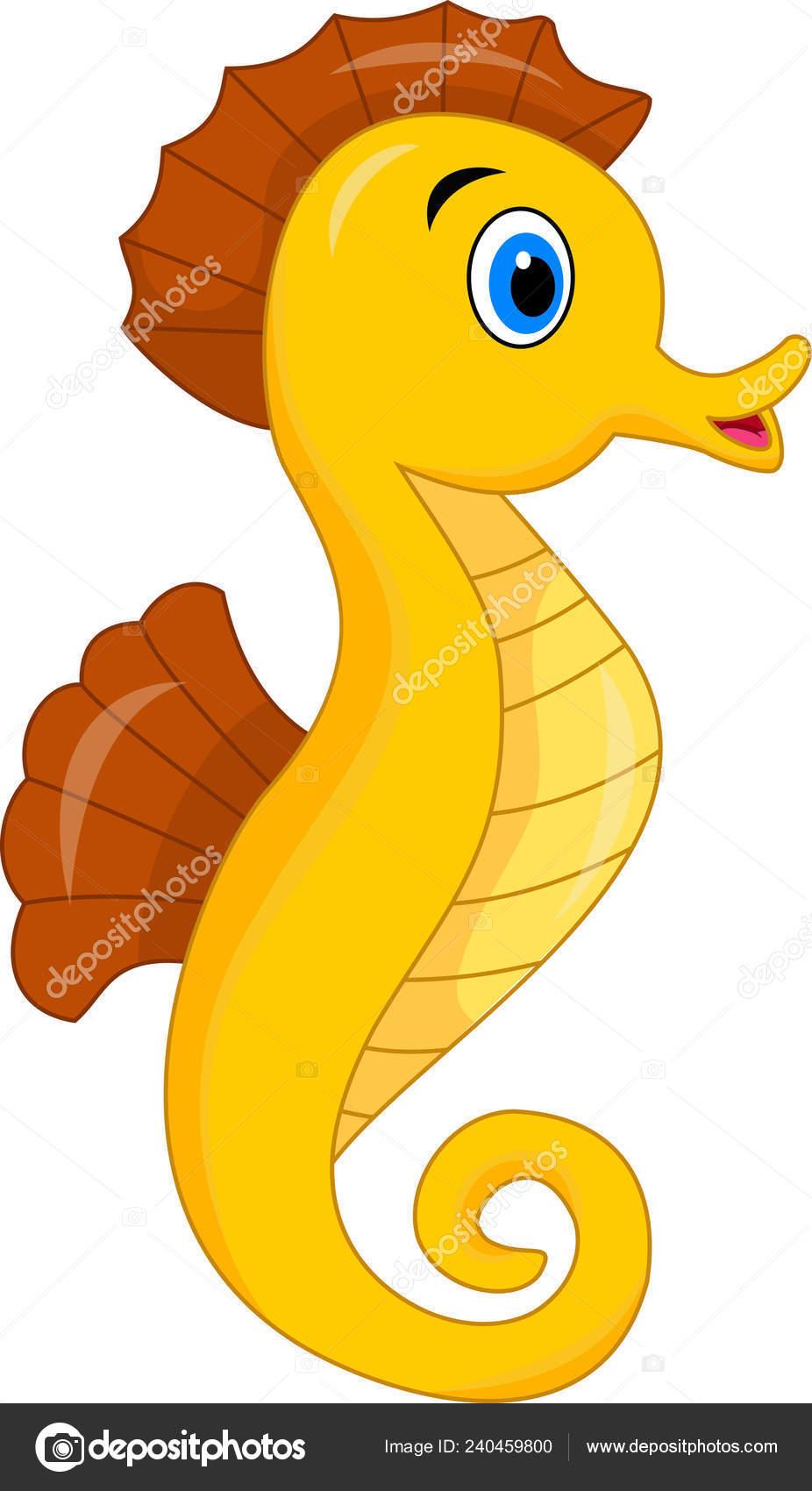Vector Illustration Cute Seahorse Cartoon Stock Vector C Ciputra 240459800
