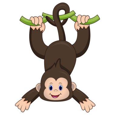 Illustration of Cute monkey hanging