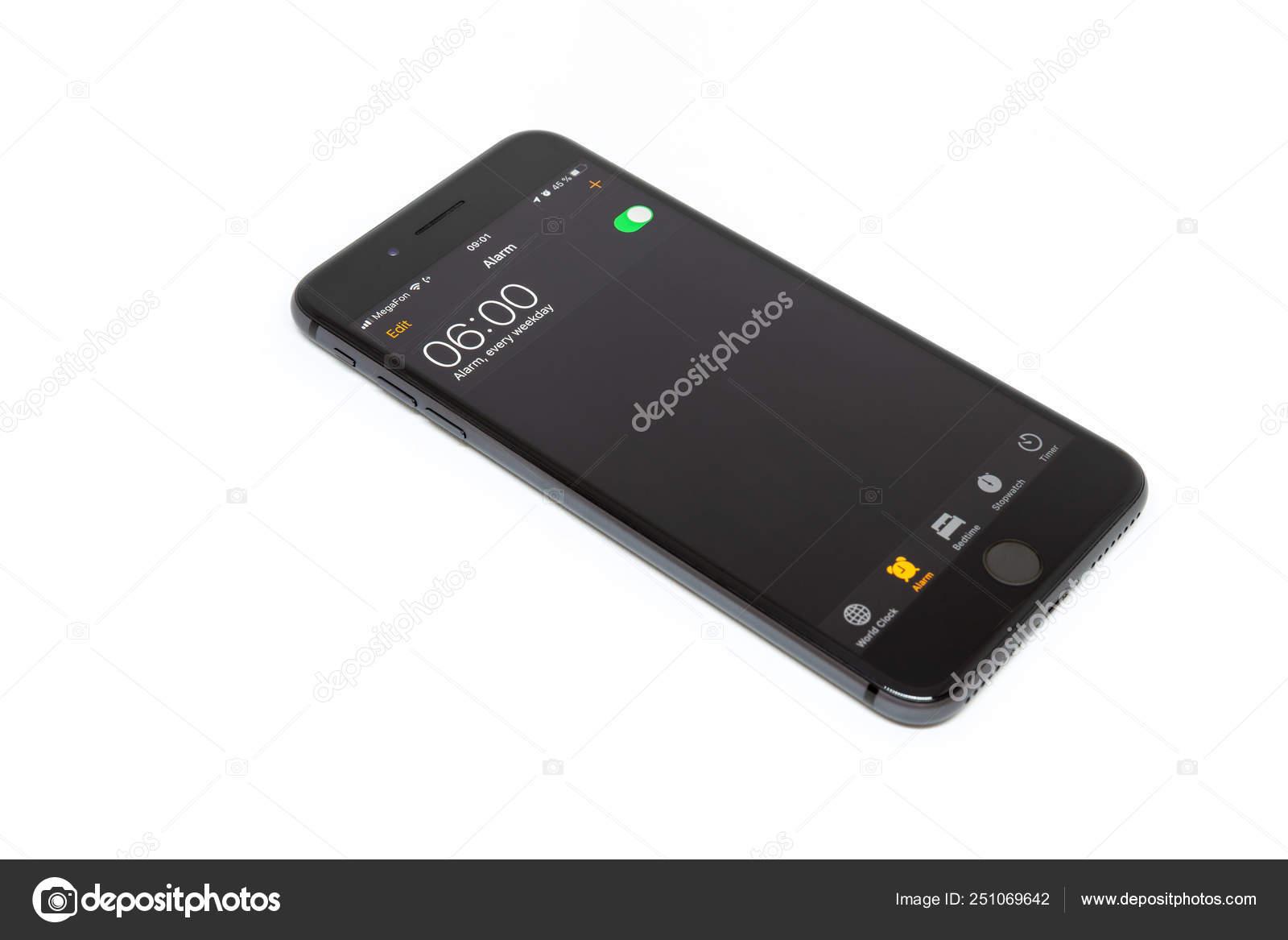 Mosca Russia Marzo 2019 Iphone Nero Sfondo Bianco Sveglia Impostata