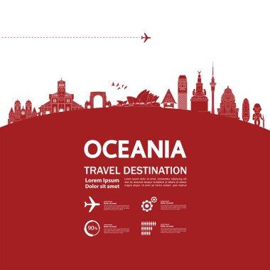 Oceania travel destination grand vector illustration.