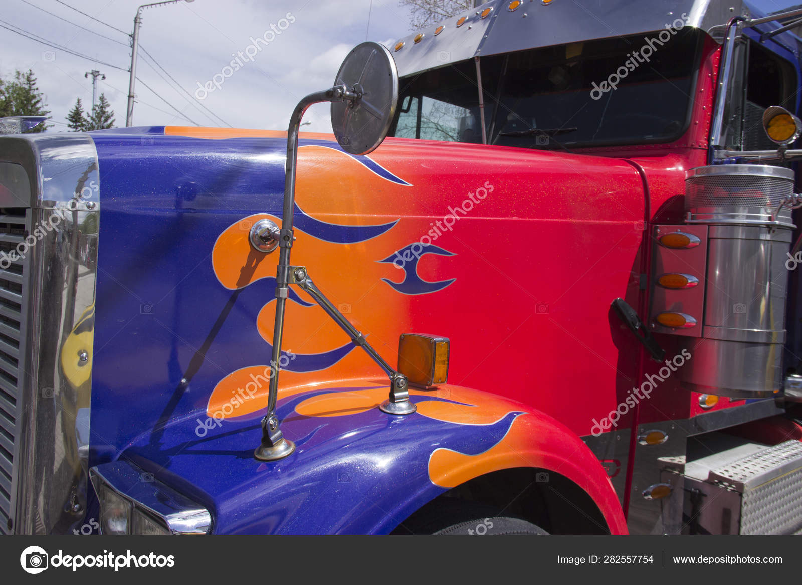 Russia, Krasnoyarsk, June 2019: Truck Peterbilt car from the