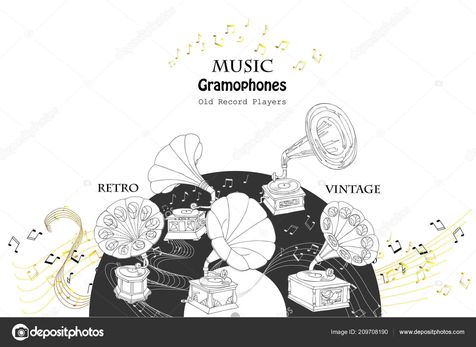Hand drawn sketches old record player vector music illustration vector by