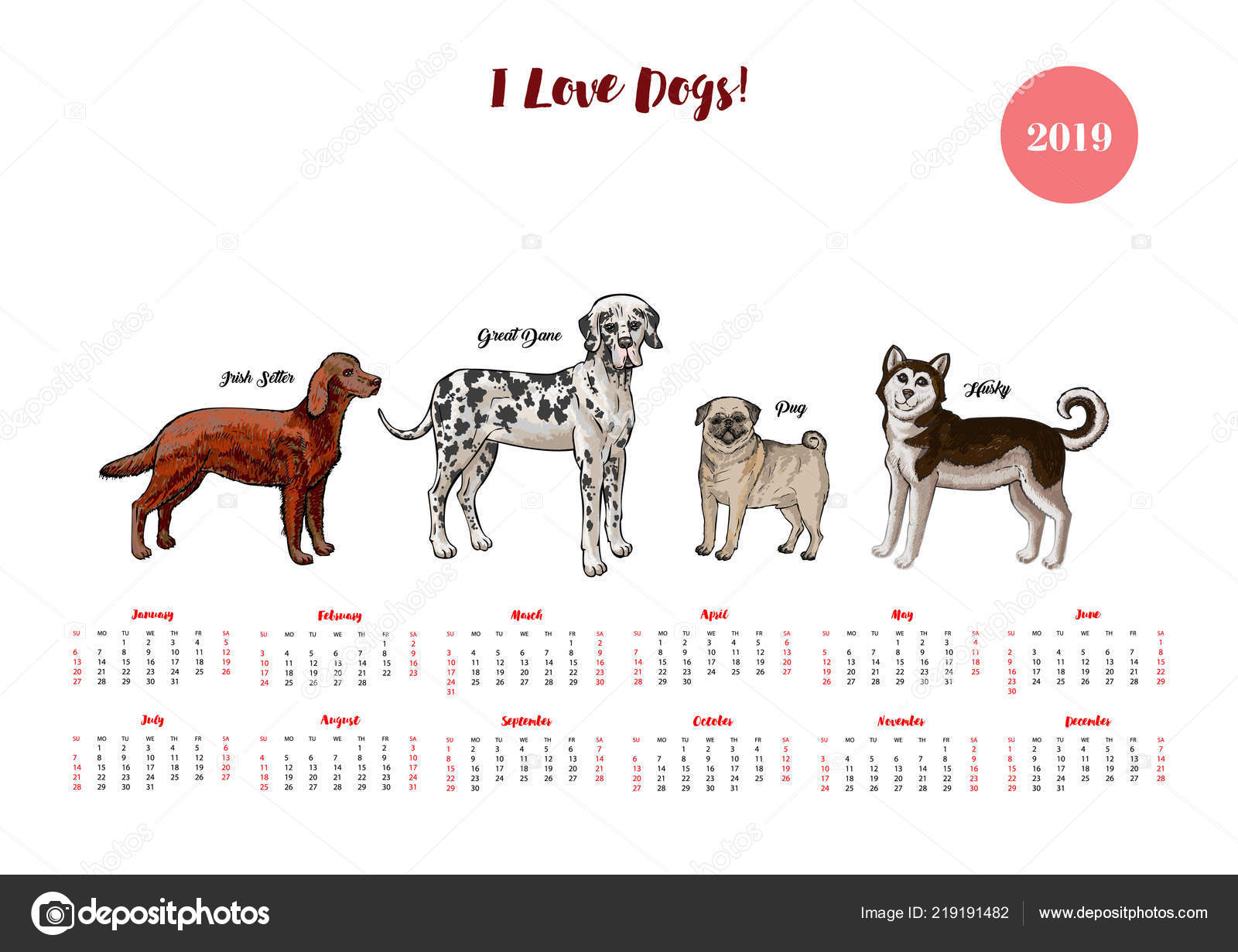 Perro calendario 2019. Perros de diferentes razas — Vector