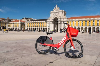 Lisbon, Portugal - 8 March 2020: Jump electric bike ready to be rented at Praca do Comercio