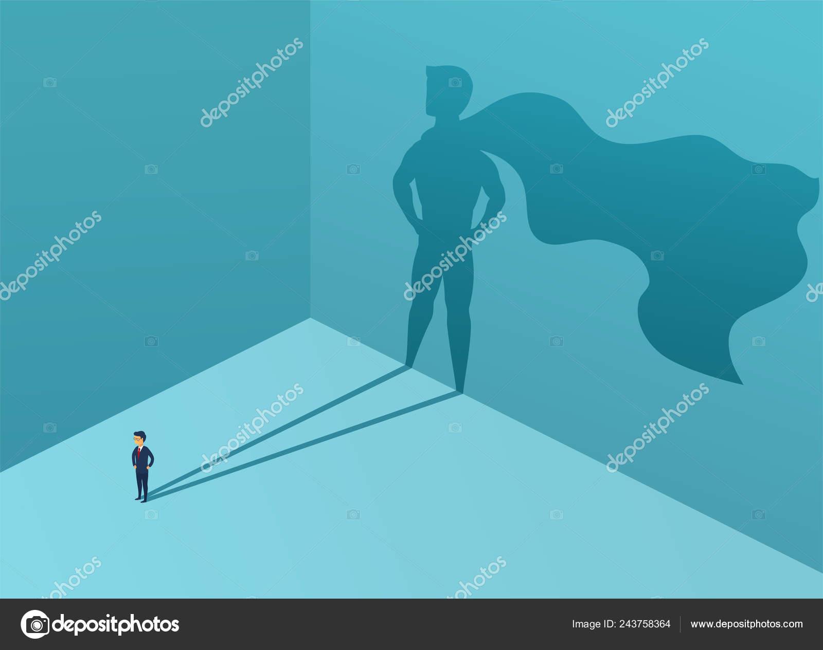 4e2181fdb69 Бизнесмен с тенью супергероя. Супер менеджер лидер в бизнесе. Успех  концепции