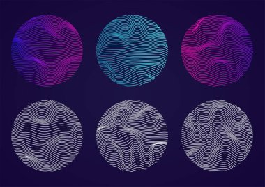 Set of wavy spheres with lines. Liquid geometric shapes artificial intelligence. Concept of artificial intelligence, big data.
