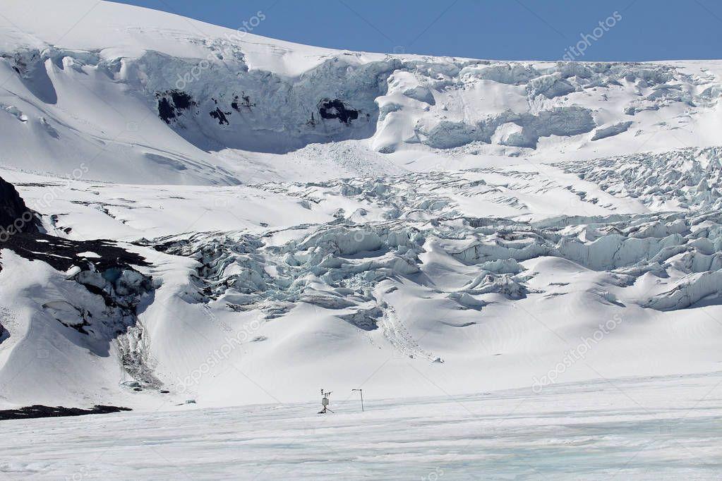 Sensor on Athabasca glacier - Columbia Icefield, Alberta, Canada