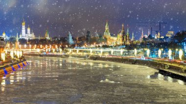Christmas in Moscow. winter panorama of night Moscow