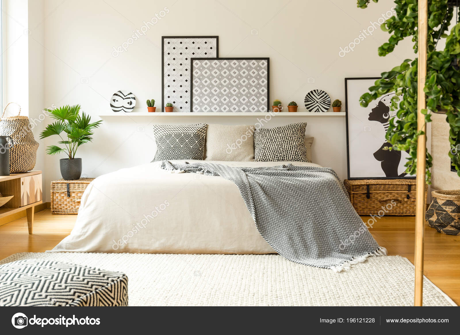 Interieur Chaleureux Chambre Avec Lit Douillet Motifs Couverture