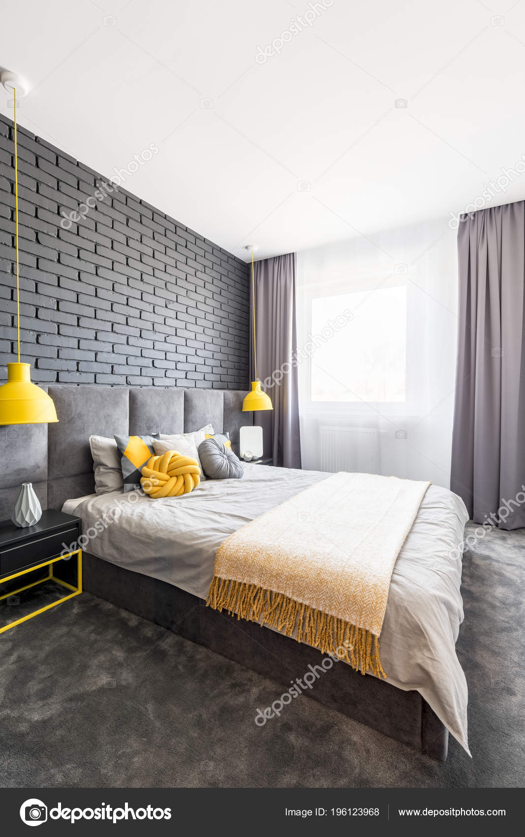 Modern Gray Yellow Bedroom Interior Comfy Bed Standing Black Brick Stock Photo C Photographee Eu 196123968