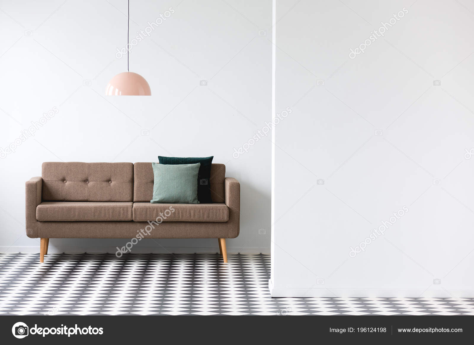 Brown Couch Pink Lamp Minimal Living Room Interior Copy