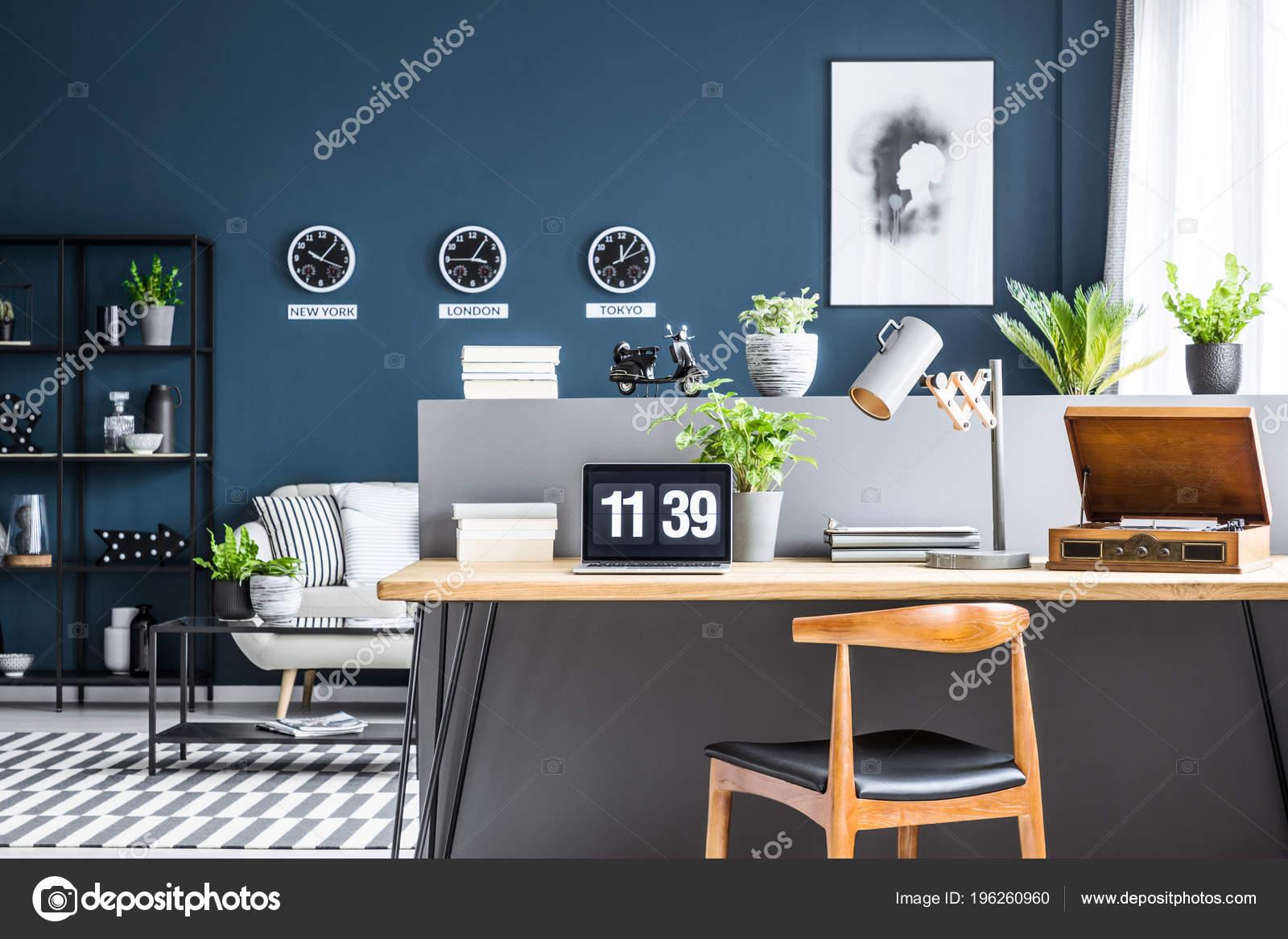 Dark Blue Living Room Interior Black Industrial Racks ...