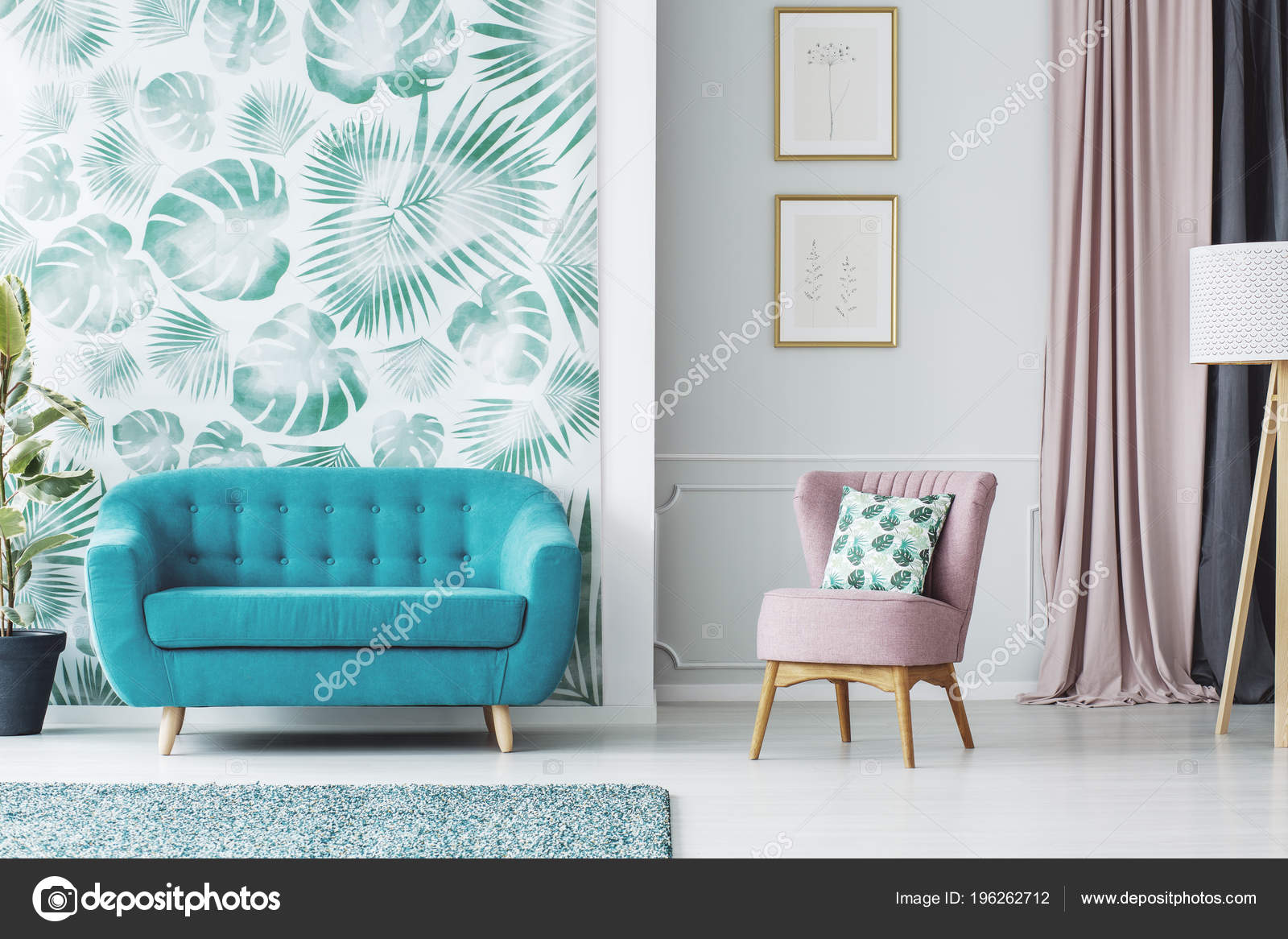 Phenomenal Pink Armchair Next Blue Sofa Living Room Interior Posters Evergreenethics Interior Chair Design Evergreenethicsorg