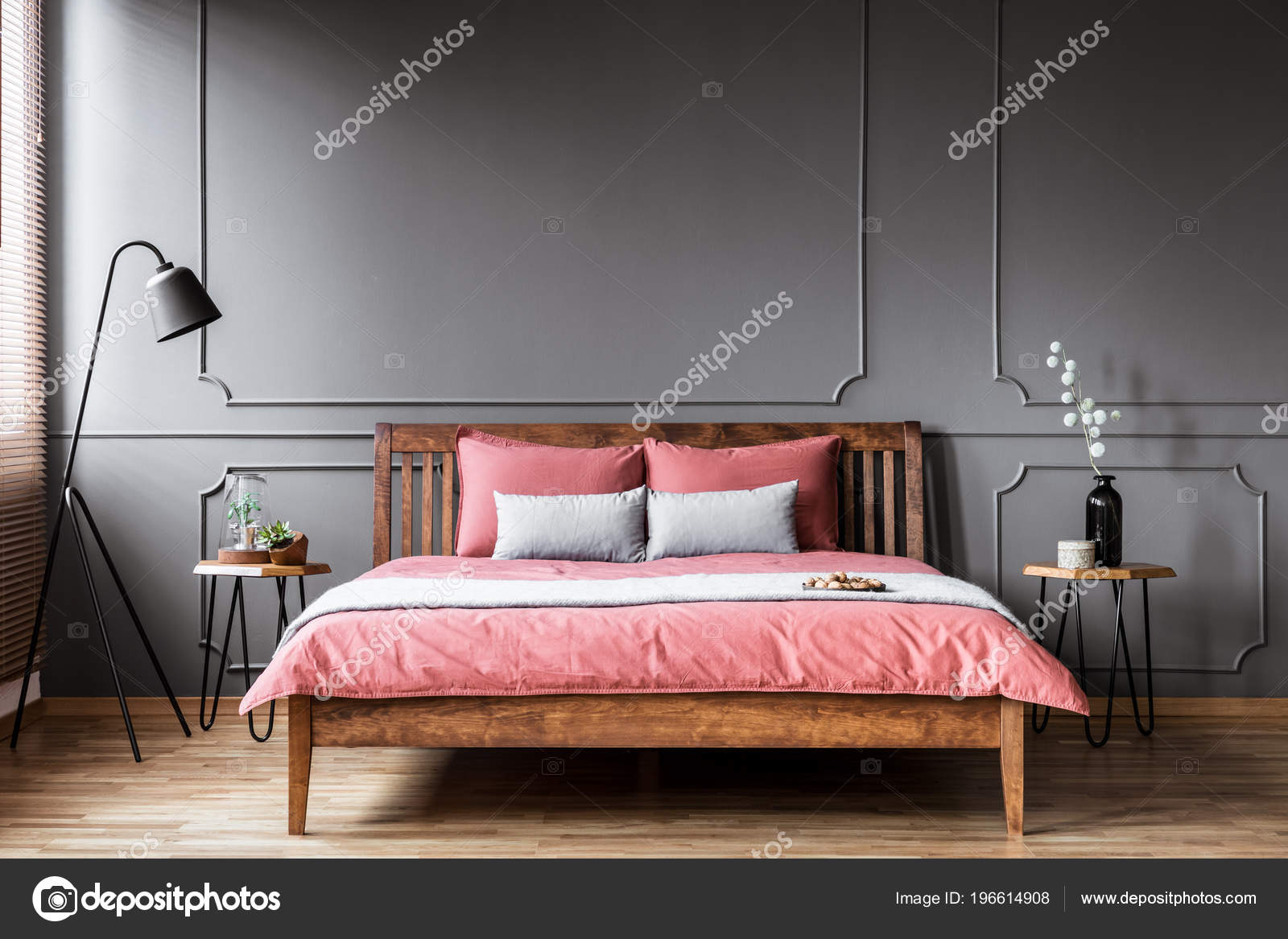 Picture of: King Size Bed Standing Bedroom Interior Bedside Tables Black Lamp Stock Photo C Photographee Eu 196614908
