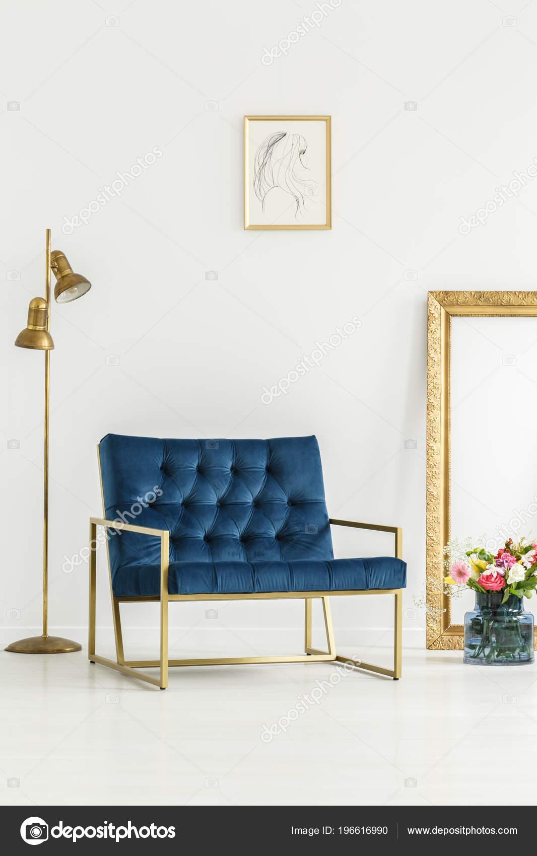 Sillón Lujo Azul Marino Elementos Oro Arte Enmarcado Ramo Flores ...