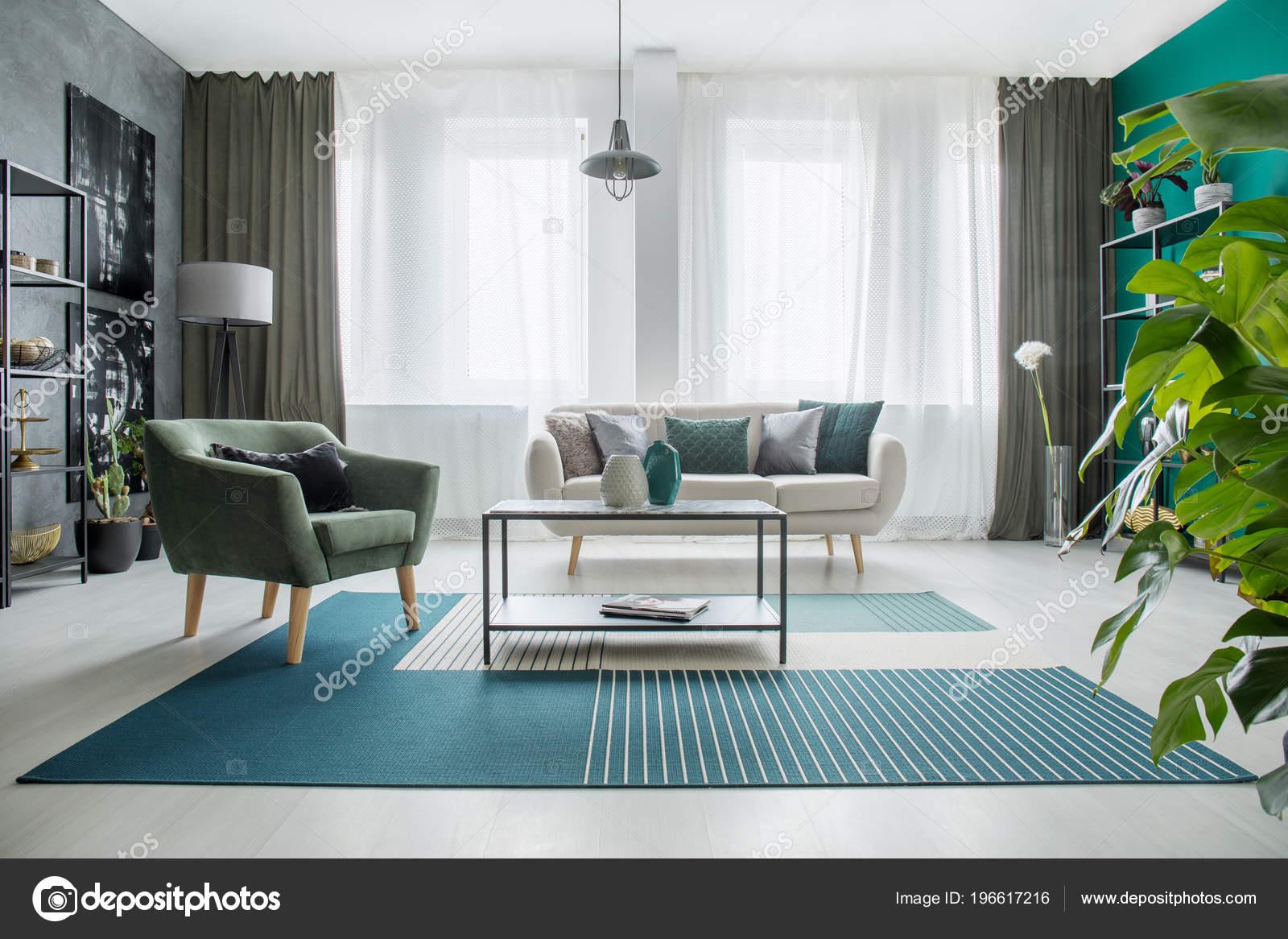 Table Carpet Next Green Armchair Beige Sofa Bright Living Room Stock Photo C Photographee Eu 196617216