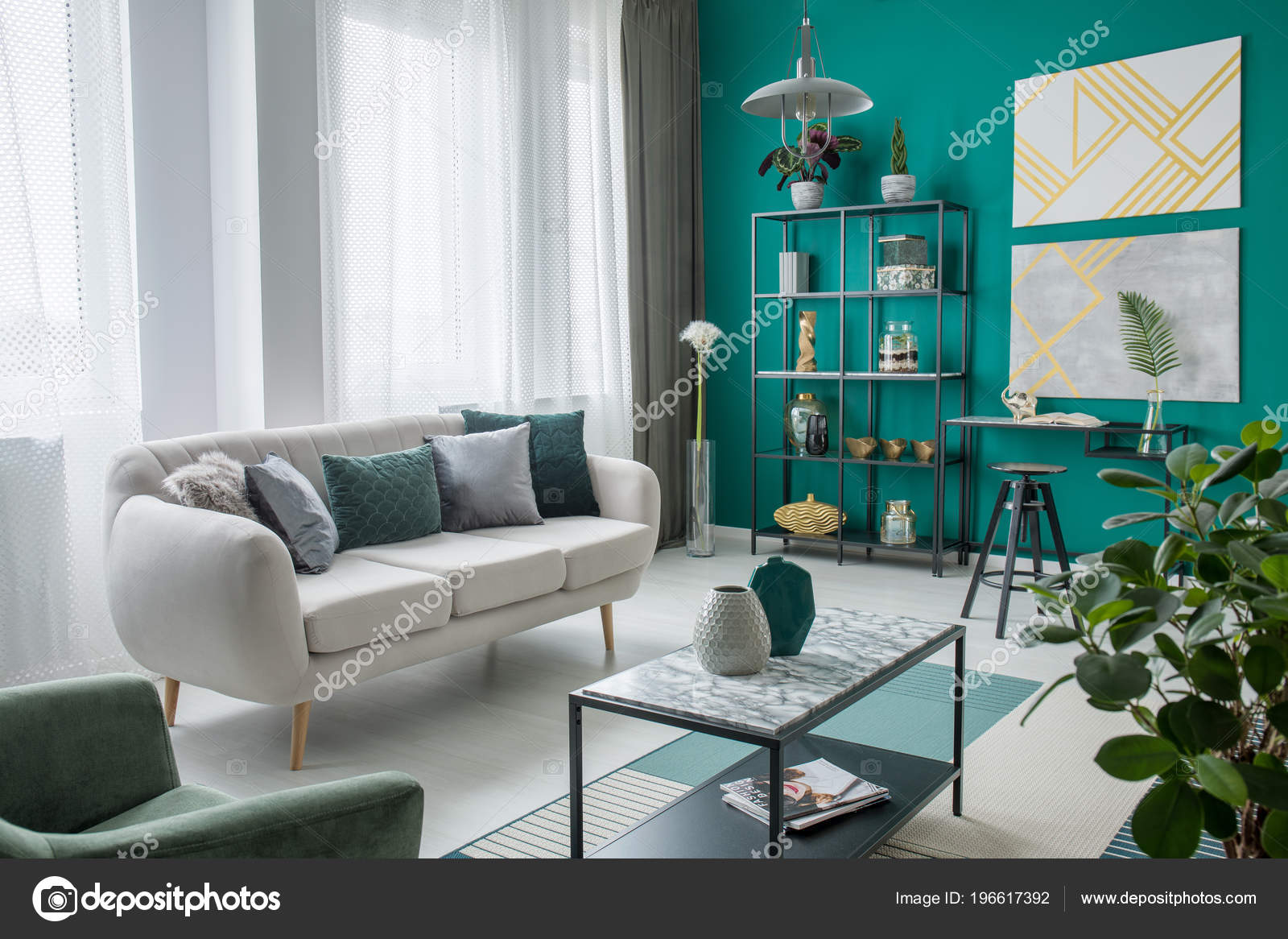 Beige Sofa Cozy Living Room Interior Gold Paintings Green ...