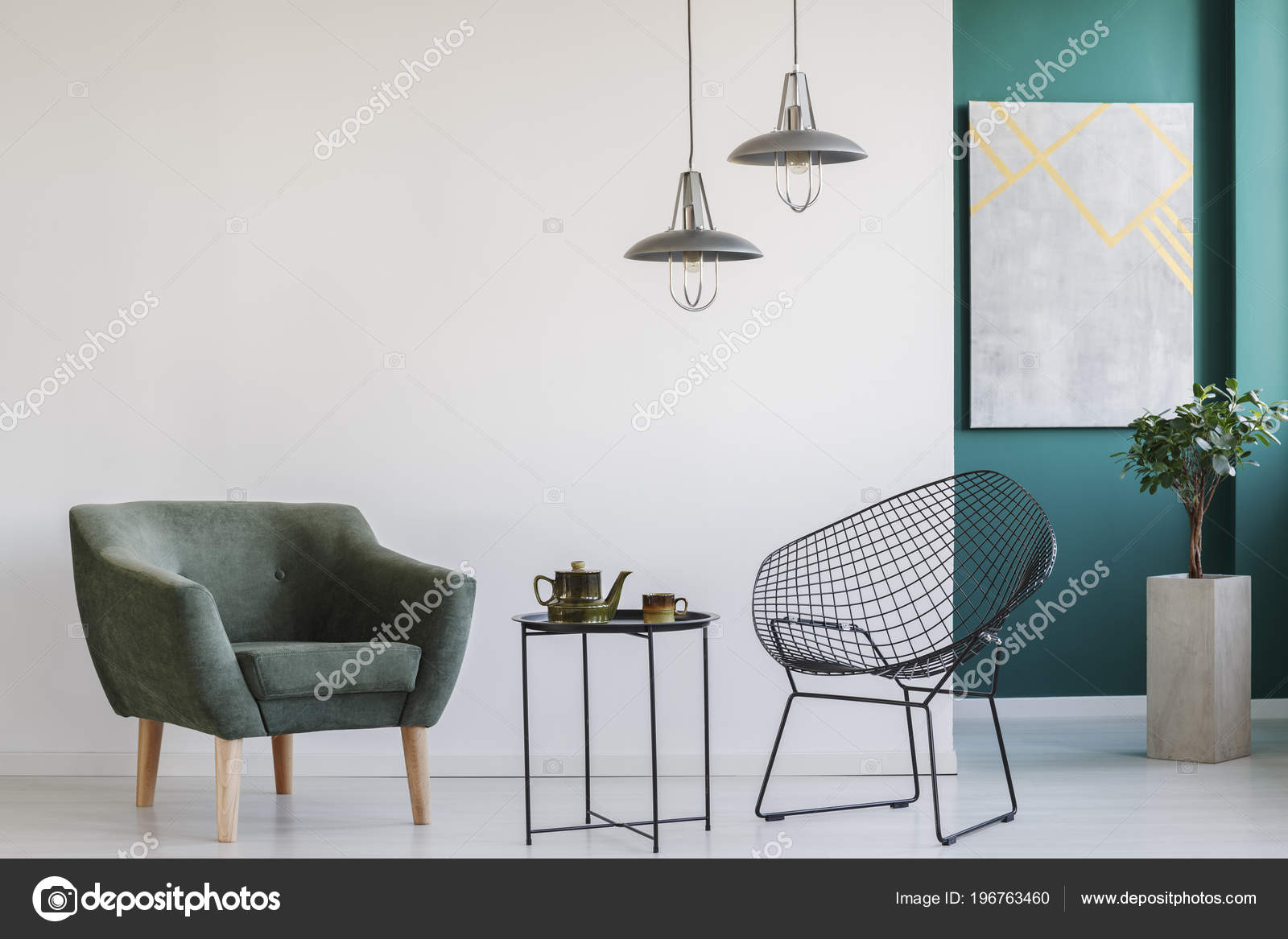 Modern Living Room Interior Two Armchairs Lamps Teapot Set Table ...