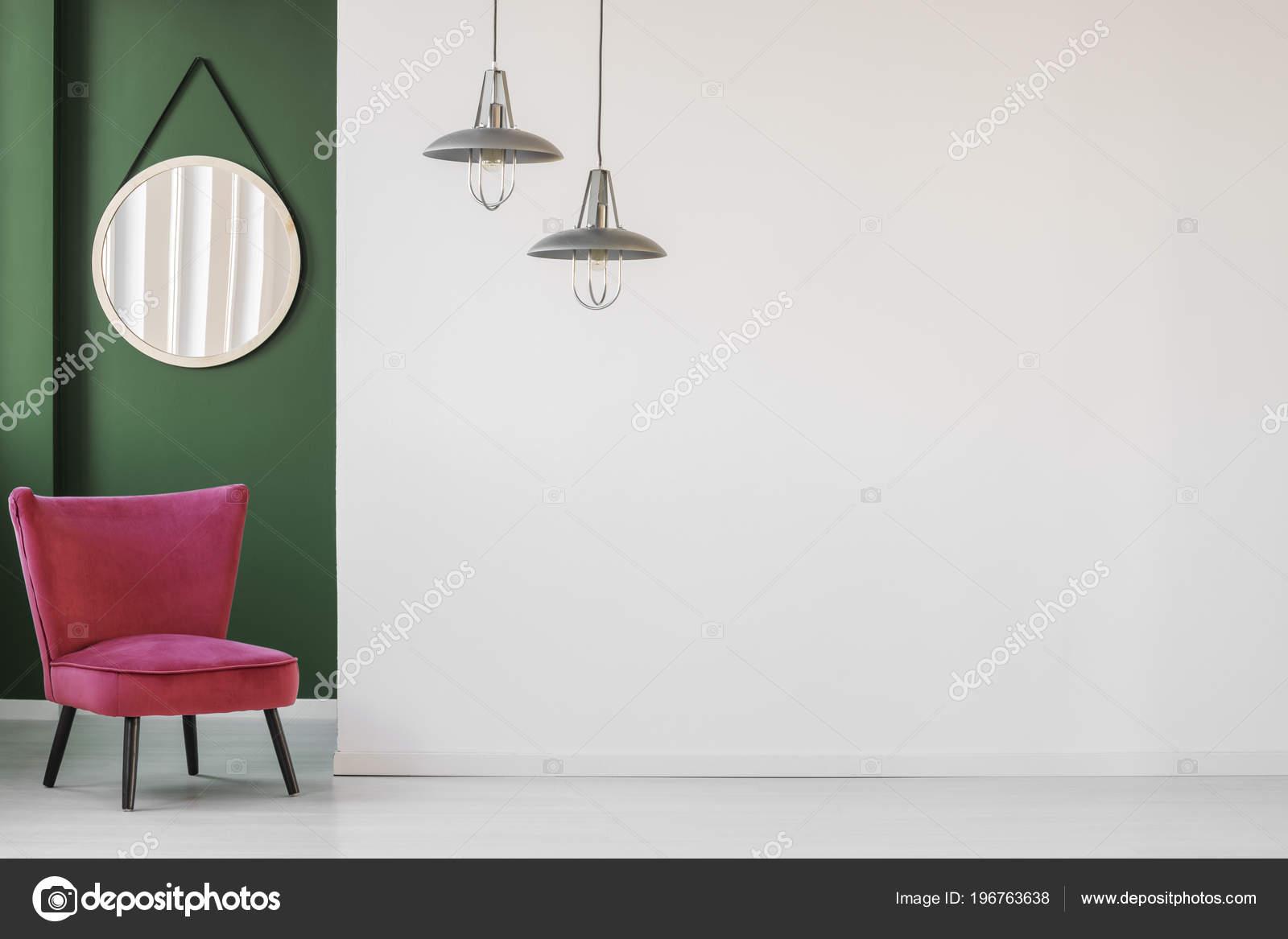 Minimalist Living Room Interior White Empty Wall Comfortable Retro ...