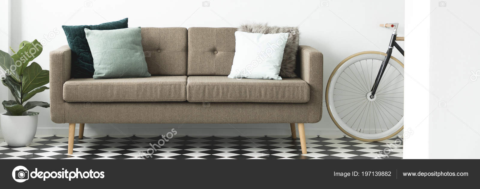 Brown Sofa Decorative Pillows Placed White Living Room