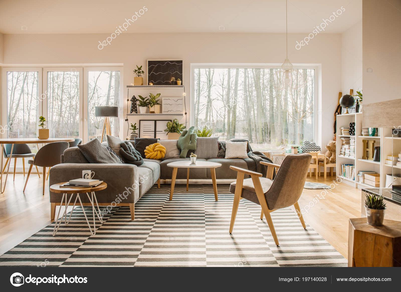 Grau Hölzerne Möbel Innen Ein Geräumiges Wohnzimmer Mit Weißen ...