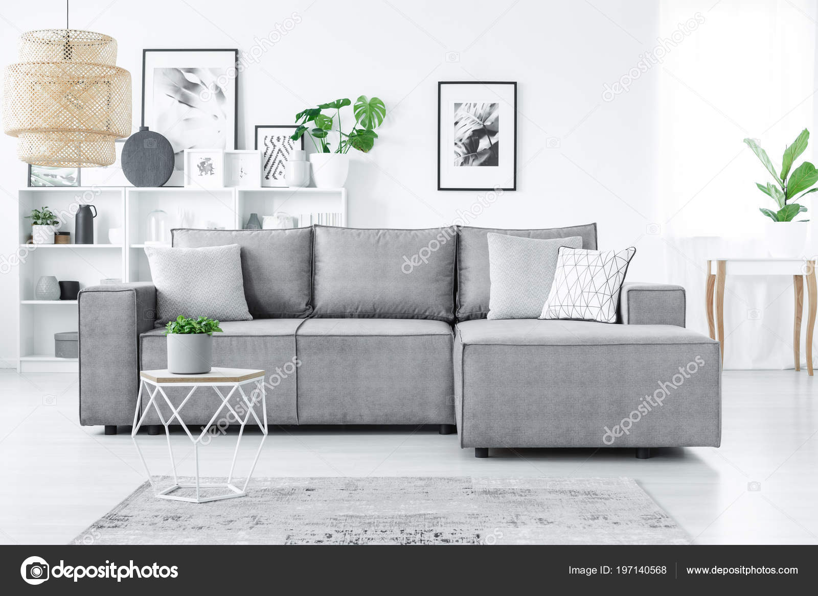 Big Corner Sofa Pillows White Shelves Plants Modern Living Room ...
