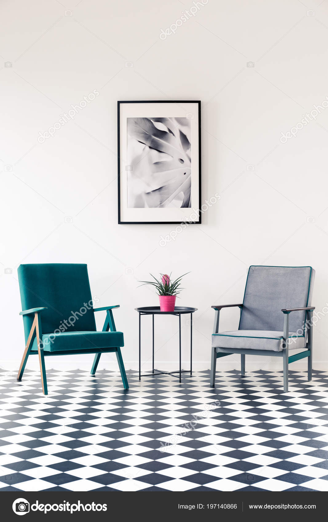 Pink Flower Table Grey Turquoise Armchair Living Room Interior ...