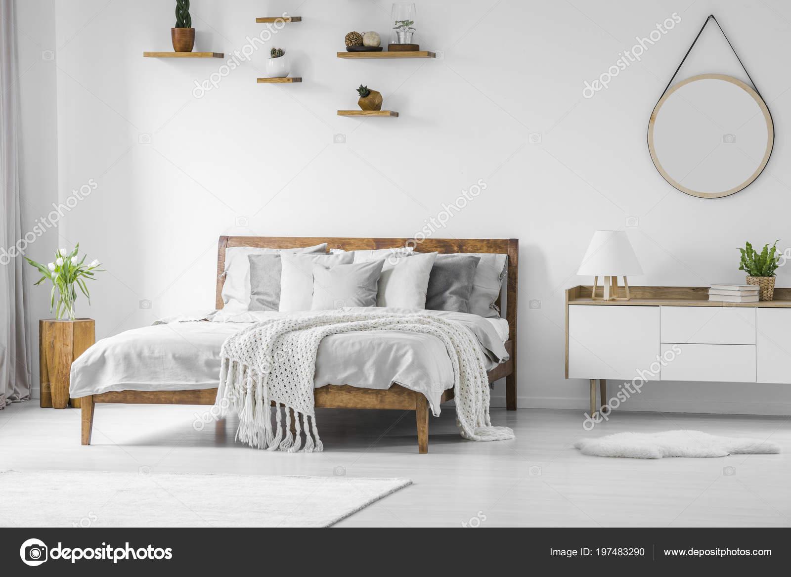 Comfortable Big Wooden Bed Linen Pillows Blanket Nightstand Mirror Hanging Stock Photo C Photographee Eu 197483290